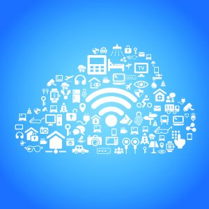 Internet of things and cloud computing concept - cloud outline by cloud computing and Internet of things concept icons