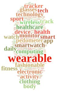 Illustration with word cloud on Wearable technology