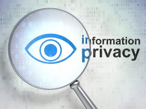 Safety concept: magnifying optical glass with Eye icon and Information Privacy word on digital background, 3d render