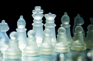 the line up of the chess pieces