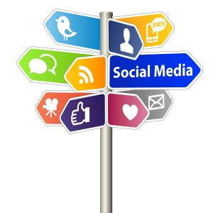 Social Media Network Sign on white background