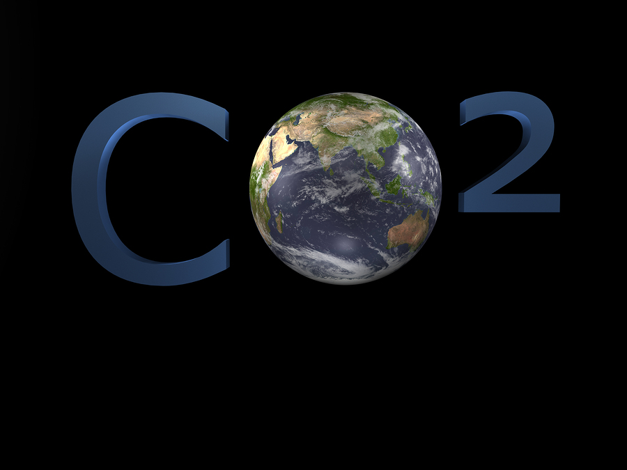 Illustration about climate change - CO2 - 3D